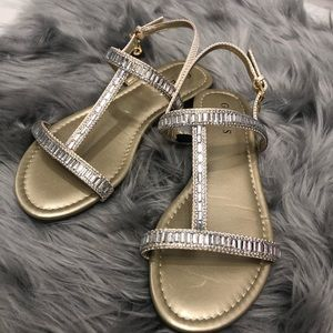 Guess Sandals gold with silver crystals size 7.5M